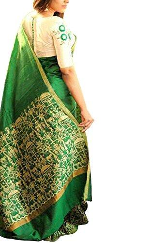 Manorath Women's Bhagalpuri Silk Saree With Blouse(Moni Mehndi_Mehandi_Free Size)