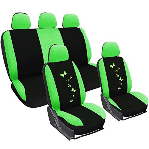 WOLTU AS7258 Set Completo di Coprisedili per Auto Macchina Seat Cover Universali Protezione per Sedile di Poliestere con Ricamo Farfalle Resistente Nero+V