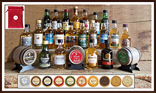 Adventskalender 24 verschiedene Premium Whisky Miniaturen je 50ml mit 24 Edel Schokoladen