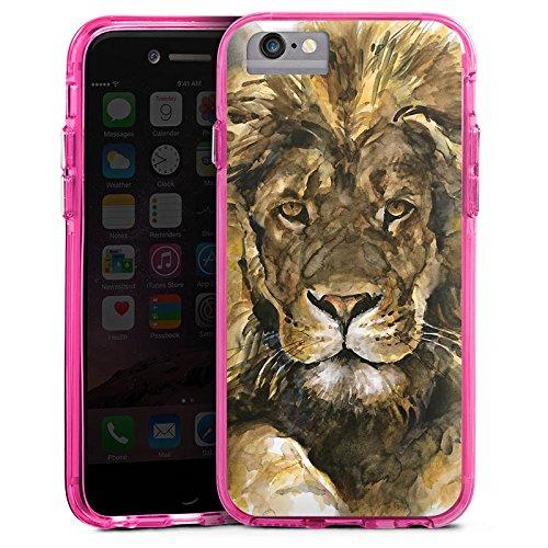Apple iPhone X Bumper Hülle Bumper Case Glitzer Hülle Lion Maehne Koenig Der Tiere Bumper Case transparent pink