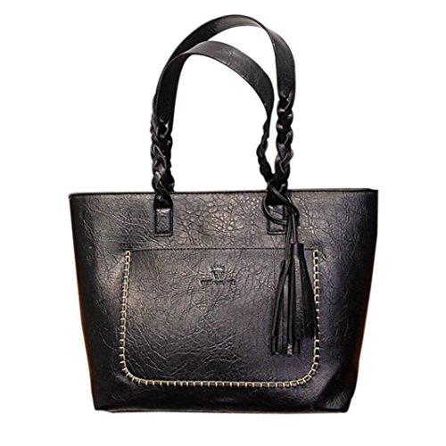 squarex Leder Fransen Damen Handtasche Schultertasche Messenger Bag Damen Umhängetasche Tote Taschen schwarz schwarz AS Show (Handtasche Kunststoff Tote)