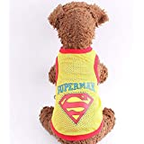 Mumoo Bear Summer Style Cute Pet Dog Superman Clothes Costumes Suit Puppy Jumpsuit Yellow Apparel