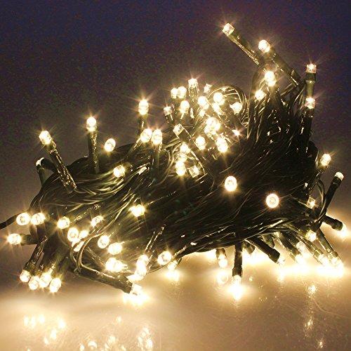 0/500 LEDs 4 Farben Wählen LED Lichterkette Weihnachten Kette Leuchte auf Dunkelgrün Kabel (200 LEDs, Warmweiß) ()