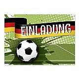 15 x Einladungskarten (Moderner Look, Grün) im Postkarten Format mit Umschlag/Fussball/WM/Party/Feier/Einladung