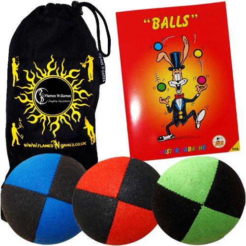 Jonglierbälle 3er Set - Profi Beanbag Bälle aus Velours + Bälle-Booklet (in Deutsch) +Tasche. Komplett-Set Ideal Für Anfänger Wie Auch Für Profis.