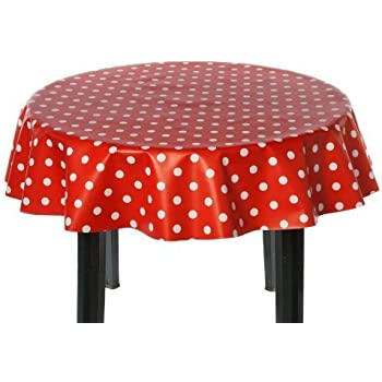 Easy Wipe Round Vinyl Tablecloth 137cm   Polka Red Design