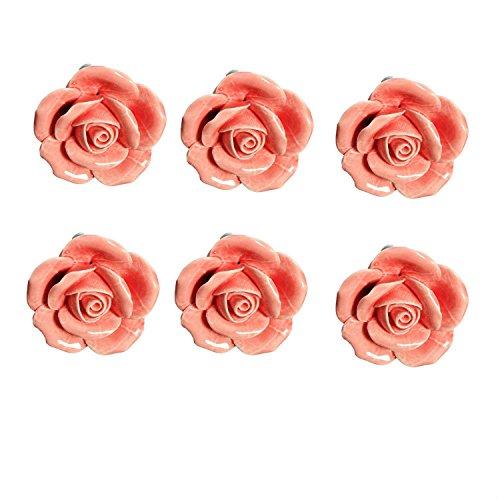 FBSHOP(TM) 6PCS Rosa 40mm Lovely Rose-Blumen-Keramik-Türknauf Griff Knöpfe Ziehen Möbelknöpfe für MöbelknöpfeSchublade, Schrank, Bin, Kommode, Schrank, etc. mit Schrauben (Rose Möbelknöpfe)