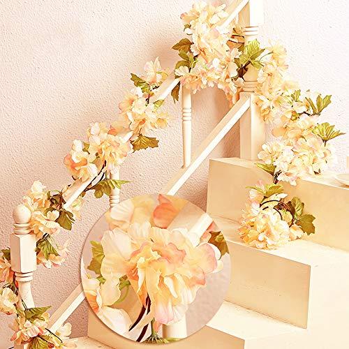 Mzming 2pcs x235cm rattan artificiale appeso corona bella fiore artificiale pianta fiore foglie per la progettazione di nozze natale giardino recinzione decorazione della casa - champagne