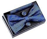 Retreez Herren Gewebte vorgebundene Fliege Fischgrätmuster Gestreifte 13 cm und Einstecktuch und Manschettenknöpfe im Set, Geschenkset, Weihnachtsgeschenke - blau