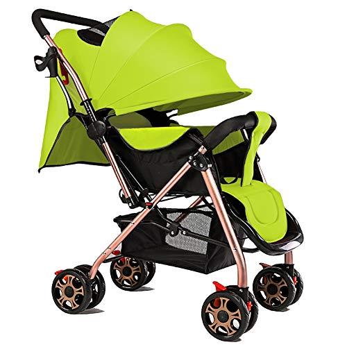 Cochecito de bebé, Ultraligero Carrito de bebé Plegable Buggy Ligero 0/1-3 años de Edad Simple Carro portátil para niños -by Virtpers (Color : Verde)