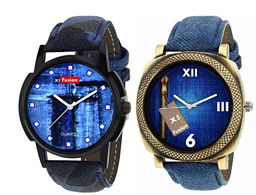 x5 Fusion combo of Men's watch DOTS JEANS AND BRASS CASE