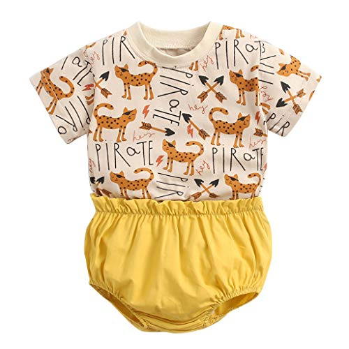 Infant Short Set Neugeborenen Kurzarm Cartoon Tops Shirt + Hosen Outfits Set
