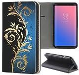 Samsung Galaxy S6 Hülle Premium Smart Einseitig Flipcover Hülle Samsung S6 Flip Case Handyhülle Samsung S6 Motiv (621 Tattoo Style Schwarz Gold Blau)