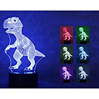 Gladle Dinosaur 3D Touch Night Lamp 7 Color Changing USB Desk LED Night Light Home Decor Customized Gift by Gladle