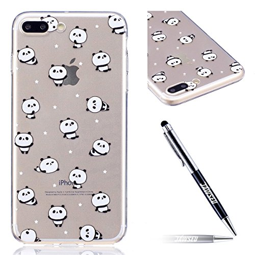 iPhone 7 Plus Custodia Transparente, iPhone 7 Plus Cover Silicone, JAWSEU Super Sottile Crystal Chiaro Custodia per Apple iPhone 7 Plus Bumper Corpeture Case Creativo Disegno Antiurto Anti-scratch Sho Panda