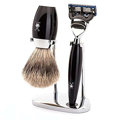 Muhle Kosmo Black Resin Fusion Razor and Fine Badger Hair Brush Shaving Set with Stand