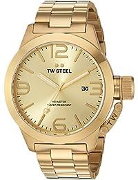 TW Steel Canteen Unisex Quarzuhr mit goldenem Zifferblatt, Analoganzeige, Silber und Rose goldenes Armband