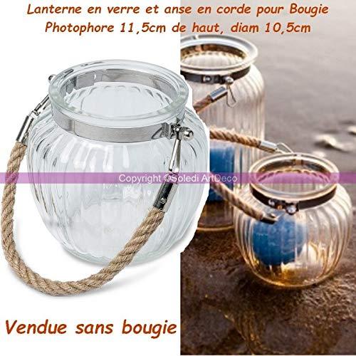 Lanterne en Verre Ronde et bombée, Anse en Corde pour Bougie, Photophore 11,5cm de Haut, diam 10,5cm, pour extérieur