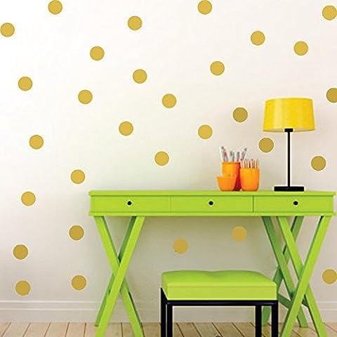 Ferris Store 52pcs Gorgeous Polka Dot Wall Stickers Decal Childs Kids Vinyl Art Decor Spots Wall Murals,Gold