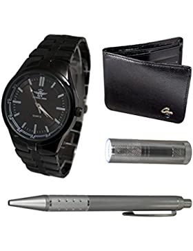 Michael John Geschenkset aus Uhr + Geldbörse + Kugelschreiber + Taschenlampe