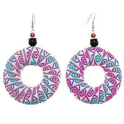 Boucles D'oreilles donut ruban brodé rose bleu perle noire ou rouge
