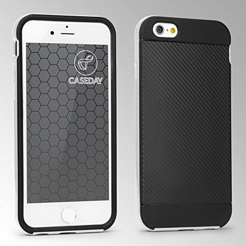 URCOVER® Hybrid Case Carbon Style Housse de Protection | Apple iPhone 6 / 6s | Plastique et Silicone en Blanc | Bumper Coque Double-couche Ultra-mince Étui Anti-chocs Cover Compléte Argent