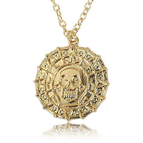 RotSale® Aztec Schädelkopf Goldmünzen Halskette Unisex Schmuck Piraten der Karibischen Anhänger Geschenk für Erwachsene Herren Frau Junge
