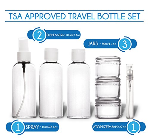 travando trousse de toilette transparente 7 bouteilles pots contenants pour liquides kit. Black Bedroom Furniture Sets. Home Design Ideas