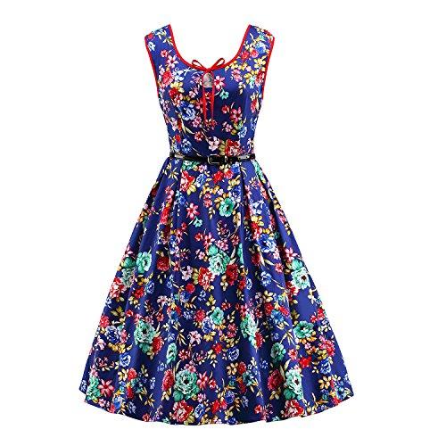 iLover Femmes années 40 et 60 ans Vintage Hepburn Style Dress Swing Party Cocktail Robe de bal Robes d'impression Bluefloral