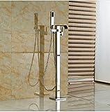 Gowe Boden Stehend Messing Chrome Finish Badewanne Wasserhahn Hebel mit Hand Dusche Gratis Ständer schwenkbarem Auslauf Badewanne Armatur