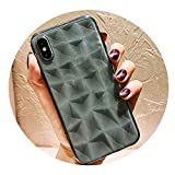 weilinchn Diamond Texture Case For iPhone 6 6s 7 8 Plus X XR XS Max Soft Phone Cover for iPhone 7 Transparent Ultra Thin,transparent black,for iphone 8 Plus