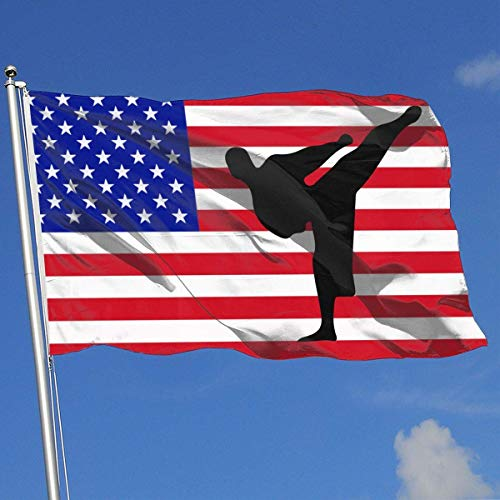 Oaqueen Flagge/Fahne Karate Silhouette Breeze Flag 3 X 5-100% Polyester Single Layer Translucent Flags 90 X 150CM - Banner 3' X 5' Ft