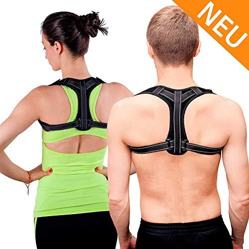 SANUFIT Rückenstabilisator und Geradehalter zur Haltungskorrektur für einen geraden Rücken - Schultergurt Rückengurt als perfekter Haltungstrainer - gegen Schulterschmerzen für Damen Herren