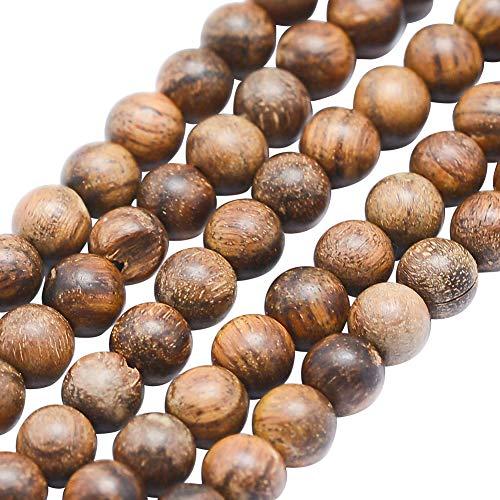 nbeads 5 Stränge, 64 Stück/Strang, Runde Holzperlen, Holzperlen für DIY Schmuckherstellung, ca. 6 mm Durchmesser, Loch: 1 mm -