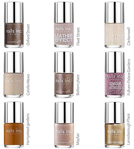 Nails Inc Timeless Collection Naked/9-Set di smalti per unghie, colori neutri: 1 Clerkenwell-1 x 1 x Colville Mews Oxford Street-1 x 1-x Fleet Street Bolston luogo, 1 x Lanesborough luogo, 1 x Fulham Palace Gardens-1 x Hampstead giardini, 1 x Mayfair