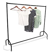 Heavy Duty Clothes Rail, 5FT Portable Metal Hanging Garment Clothes Rack on Wheels for Living Room Bedroom Balcony, Holds up to 100kg