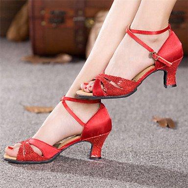 Dance Shoes Quietness Ruhe @ Damen Tanzschuhe Latin Patent Leder Chunky Ferse blau/rot/Silber/Gold, rot