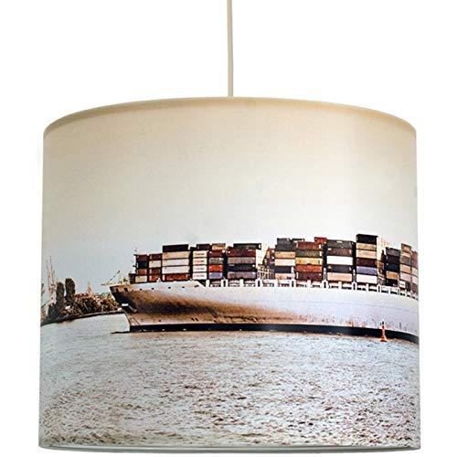 anna wand Lampenschirm/Hängelampe HAMBURG CONTAINERSCHIFF - Schirm für Lampen mit Containerschiff-Motiv in warmen Farben - Sanftes Licht auch für Tischleuchte oder Stehlampe - ø 40 x 34 cm
