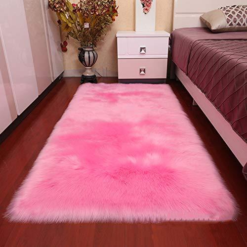 AOIPO Faux Lammfell Schaffell Teppich Longhair Fell Fake Schaffell Ist Super Weich Flauschig Weich Nachahmung Wolle Teppich Rutschfest Schaffellimitat,Pink-90×140cm/2.9×4.6ft - 6' Wolle Teppich