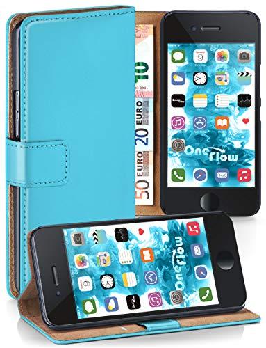 MoEx® Booklet mit Flip Funktion [360 Grad Voll-Schutz] für iPhone 6S / iPhone 6 | Geldfach und Kartenfach + Stand-Funktion und Magnet-Verschluss, Türkis