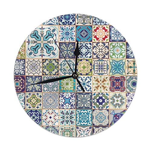 Wall Clock Silent Non Ticking,Floral Patchwork Design with Arabesque Figure and Shapes Mediterranean Symbolic Artisan Work Clock for Home Bedroom Office Diameter 9.84