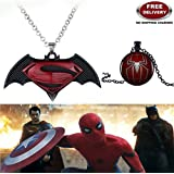 "(2 Pcs SET) - BATMAN SUPERMAN DAWN OF JUSTICE LOGO (BLACK METAL) & SPIDERMAN 3D GLASS DOME SMALL BLACK METAL IMPORTED PENDANTS WITH CHAIN. LADY HAWK DESIGNER SERIES 2018. ❤ ALSO CHECK FOR LATEST ARRIVALS OF ""LADY HAWK"" BRAND PRODUCTS"