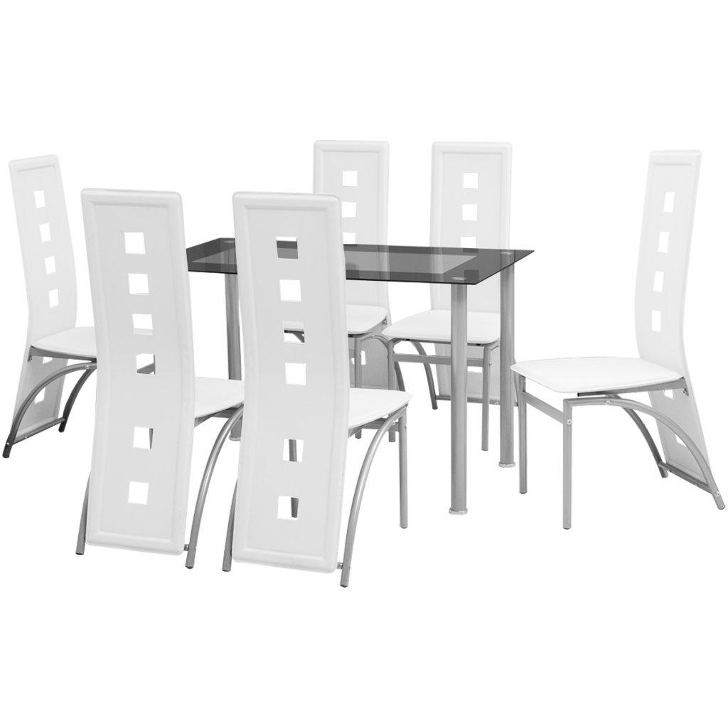 Festnight Set Sala da Pranzo/Tavolo Cucina con sedie 7 Pezzi Bianco | CasaMe