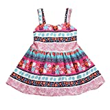 feiXIANG Baby Rock Kinder kleider mädchen Partykleid Sommer kleidung Floral Rock Festzug Princess Rock Vest Kleider Mädchen Retro-Druck Kleid (80, Heiß Rosa)