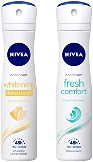 NIVEA Deodorant, Whitening Floral Touch, 150ml & Deodorant, Fresh Comfort, 150ml Combo