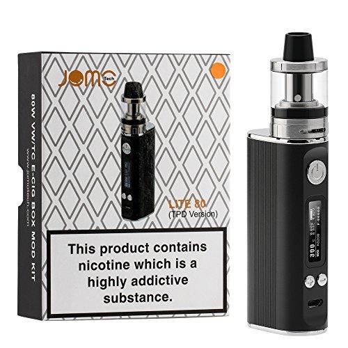 JOMO TECH Elektronische Zigarette Lite 80W Komplett Starterset mit Top Refill Clearamizer 0.4ohm und TC (Temperaturregelung) Box Mod mit Integriertem 18650 Akku 2600mAh e Rauchen