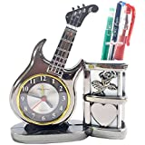 #8: Noorstore Beautiful And Classy Guitar Shaped with Pen Stand Analog Table/Desk Clock for dining / Bedroom/ Gift/ Kids