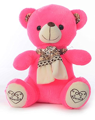Dimpy Stuff Bear with Scarf, Hot Pink (28cm)  available at amazon for Rs.499