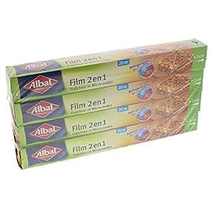 Albal Film Alimentaire, Extra Large 32 cm, Facile à Découper 20 m, Film Fraîcheur et Cuisson, Lot de 4