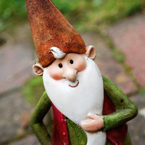 Monty der Fröhliche Gartenzwerg mit langem weißem Bart Garten Deko aus Kunstharz